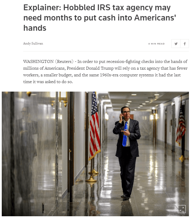 reuters article march 22 2020 on why stimulus checks could take months to deliver
